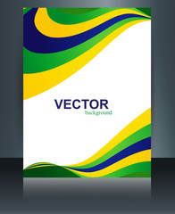 Business brochure wave Brazil flag template concept colorful ref