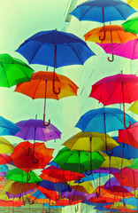 colorful umbrellas abstract vintage photo