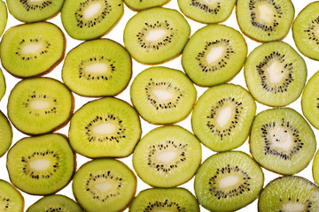 Many rings kiwi on white background