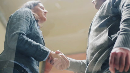 Businessman and businesswoman shaking hands in the office