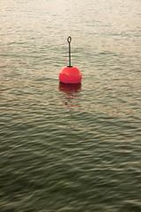Bouy by the lake - Red bouy on a calm lake