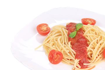 Tasty italian pasta with tomato sauce.