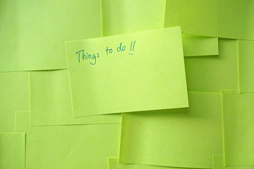Close up of a sticky note saying Things To Do list