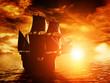 Leinwanddruck Bild - Ancient pirate ship sailing on the ocean at sunset