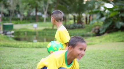 Brazilian boy play in the park