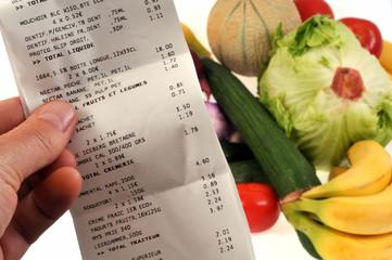 La note des courses alimentaires
