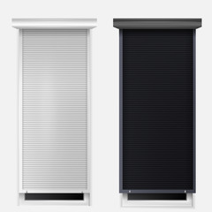 Illustration of windows with louvers
