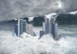 Apocalyptic scene of city submerged by tsunami - 66004424