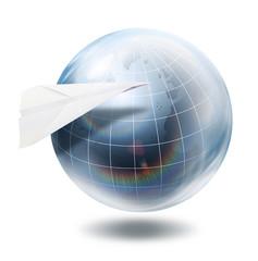 paper aeroplane globe