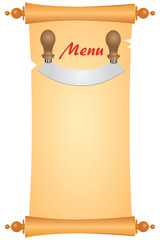 Menu with a knife