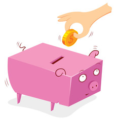 putting money in to a pig bank