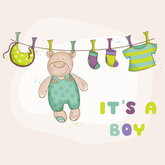 Baby Bear Shower or Arrival Card - in vector