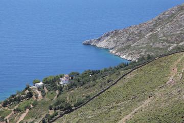 Kleine Kirche über dem Meer auf der Insel Patmos