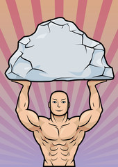 Powerful man holding rock over head