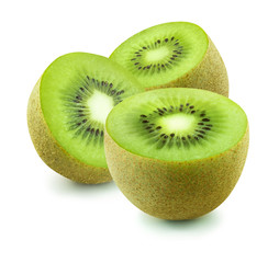 Three open kiwi isolated on white background