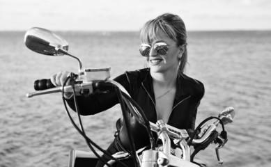 Stylized photo of woman and bike