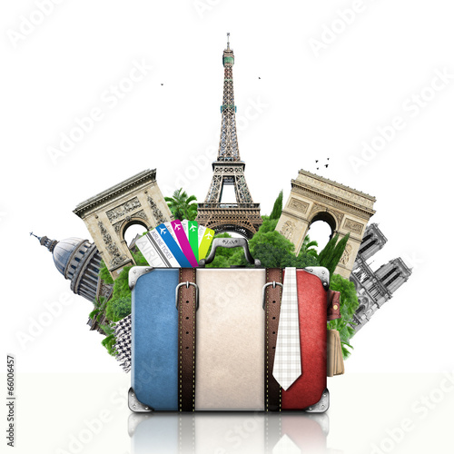 Poster Ontspanning France, landmarks Paris, retro suitcase, travel