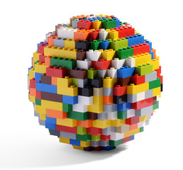 Globe or sphere of multicolored blocks