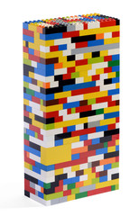 Tower constructed of colorful bricks