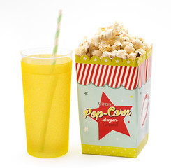 Box of popcorn with a soft drink