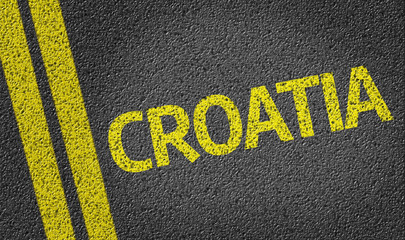 Croatia written on the road