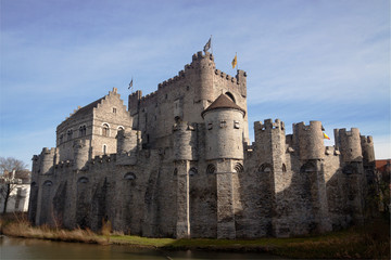 Gravensteen, medieval castle and blue sky in Gent, Belgium