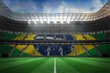 canvas print picture - Large football stadium with brasilian fans
