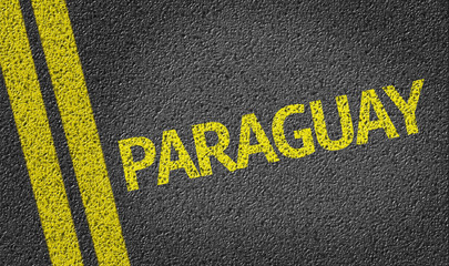 Paraguay written on the road
