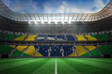 Large football stadium with brasilian fans