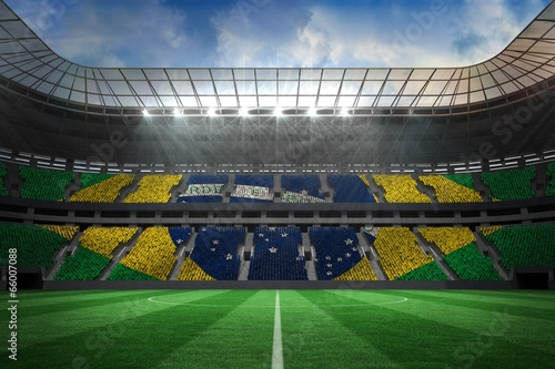 canvas print picture Large football stadium with brasilian fans
