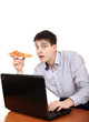 Teenager with Laptop and Pizza