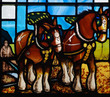 Horses working on the field. A stained glass window - 66007452