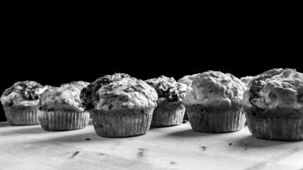 Black and white image of freshly baked muffins