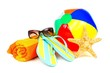 Group of colorful beach items over white - 66008265