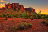 Desert sunset with mountain near Phoenix, Arizona, USA - Fine Art prints