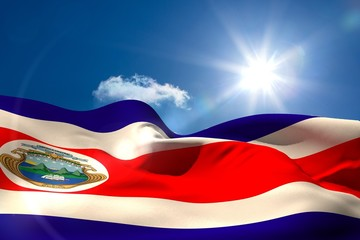 Costa rica national flag under sunny sky