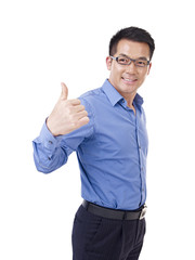 asian businessman thumb up, isolated on white background