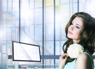 Elegant Pensive Woman with Flower in Office Space