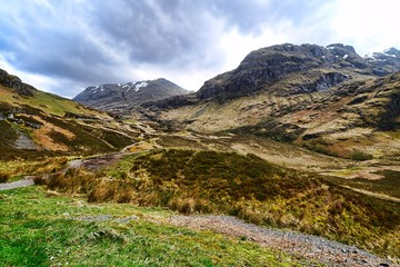 Dramatic landscape of Glen Coe during early spring, Scotland