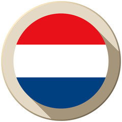 Netherlands Flag Button Icon Modern