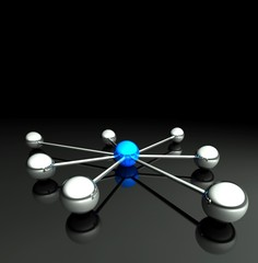 Network concept with copyspace 3d communication