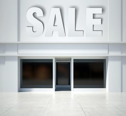 Shopfront window and sale, front view