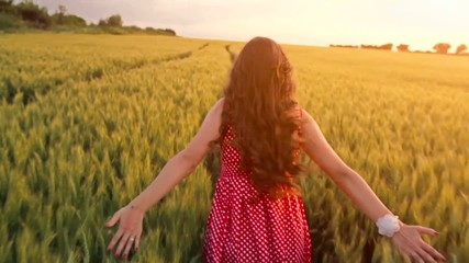Young Woman Slow Motion Summer Dress Running Chasing Dreams