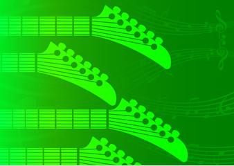 vector green background Guitar headstocks
