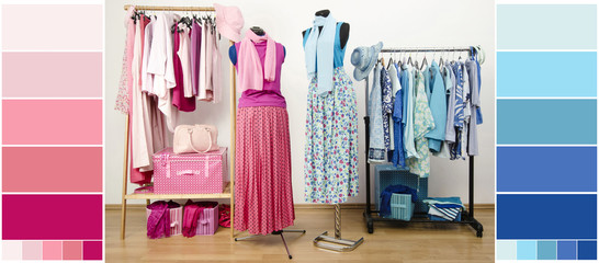 Wardrobe with blue and pink clothes on dummy with color samples.