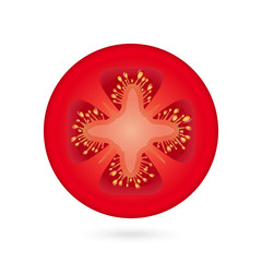 Tomato slice icon over white