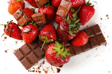 Red ripe strawberry with chocolate, isolated on white
