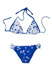 Blue with stars fashionable swimsuit. Bra and panties.