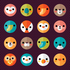 set of cute animal smiley face stickers