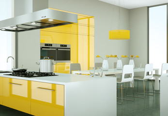 modern yellow Kitchen Interior Design